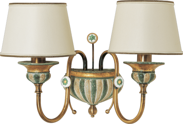 2 LIGHTS WALL LAMP WITH LAMPSHADES 02368/2