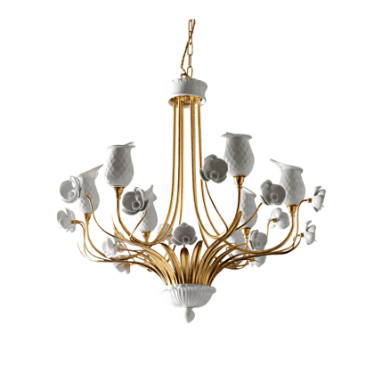 6 LIGHTS CHANDELIER WITH PORCELAIN DIFFUSERS