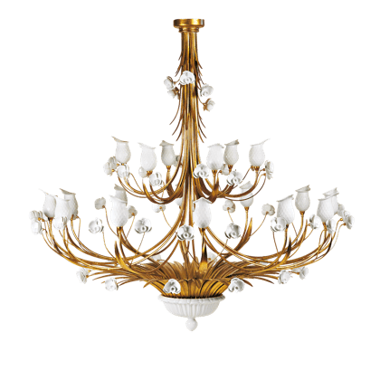 18 LIGHTS CHANDELIER WITH PORCELAIN DIFFURSERS